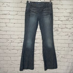 Guess Frankie Flare Gray Wash Pinstripe Jeans 29